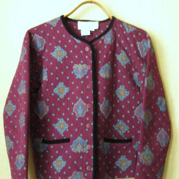 Quilted Jacket Boho Print Jacket oversized cropped collarless jacket burgundy wine lightweight jacket designer clothing Vittadini women