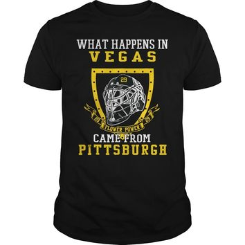 What happens in Vegas flower power came from Pittsburgh shirt Premium Fitted Guys Tee