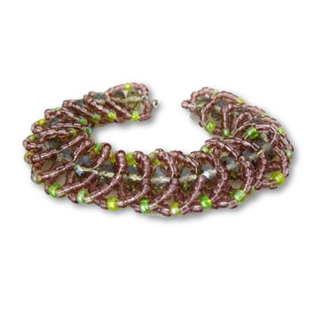 Amethyst purple artist - green accent and black smoke swarovski rondelles - woven flat spiral seed bead bracelet