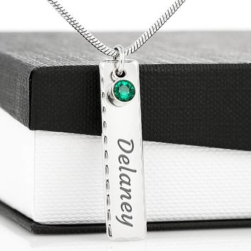 Name plate birthstone pendant necklace, custom necklace pendant jewelry for women