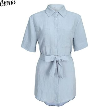 Women Gray Roll Up Short Sleeve Front Button Up Tied Waist Pocket Mini Shirt Dress New Summer Brief Elegant Casual Clothing
