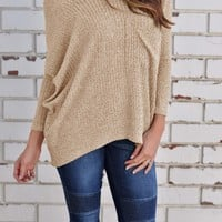 Khaki  Off the shoulder Long Sleeve Shirt