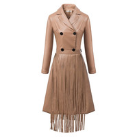 Brown Faux Leather Long-Sleeve Tassel Notched Dress