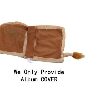 Baby Boy Girl Album Brown Lion Interleaf Type Children Cartoon Animal Soft Plush Cover Scrapbook Kids Gift
