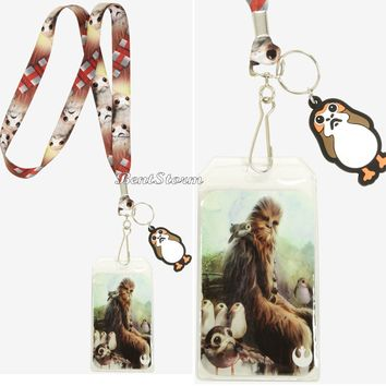 Licensed cool Chewbacca And Porgs Lanyard Star Wars: The Last Jedi ID Holder Disney Loungefly