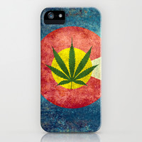 Retro Colorado State flag with the leaf - Marijuana leaf that is! iPhone & iPod Case by Bruce Stanfield