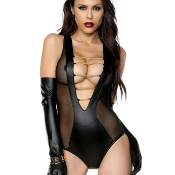 Sleeveless Fetish Body Suit-Fetish Clothes