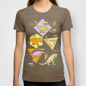 Nineties Dinosaur Pattern version 2. T-shirt by chobopop | Society6