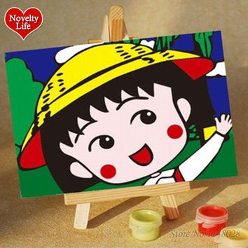 DIY Small Frameless Picture Painting By Numbers Sakura Momoko Children Home Decor Canvas Oil Painitngs Kids Bed Room Wall Easel