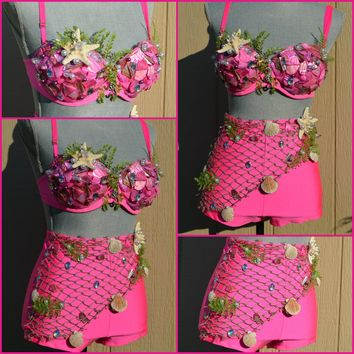 Hot Pink Shell Mermaid Bra with Bottom Dance Costume Rave Halloween