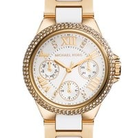 Michael Kors 'Mini Camille' Crystal Bezel Chronograph Resin Link Bracelet Watch, 33mm