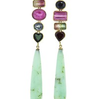 Tourmaline Garnet Chrysoprase Drop Earrings