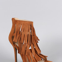 Wild Diva Lounge Faux Suede Layered Fringe Open Toe Heel