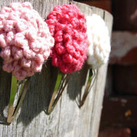Adorable Crochet Flower Hair Clips  Pink and by AuntieEmsStudio