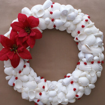 "Christmas wreath, 12"", holidays, decoration seashells decor red white"