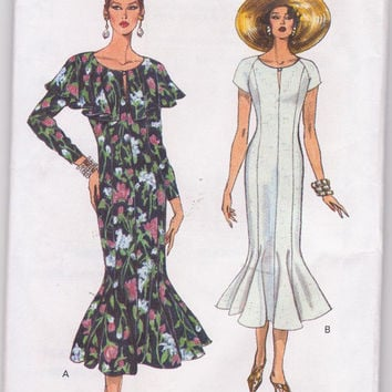 Pattern for fit + flare special occasion or day dress long or short sleeves with tulip skirt and caplet misses size 8 10 12 Vogue 8695 UNCUT