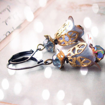 Brown Blue Shabby Flower earrings crystal filigree by shadowjewels