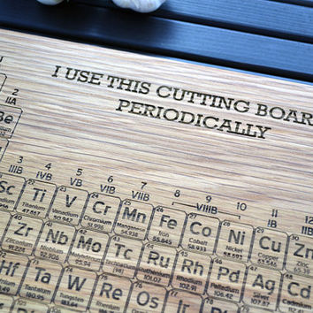 Periodic Table Engraved Wood Cutting Board - 12x16 - Name Your own Element - Custom Science Gift For the Kitchen Chemist - Geekery