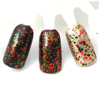 Christmas In Bordeaux - Green, Red, Gold Glitter Winter Nail Polish (LIMITED EDITION)