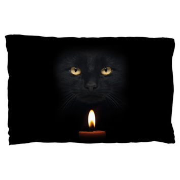 Halloween Black Cat By Candle Light Pillow Case
