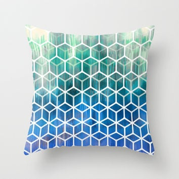 The Geometry of Bees and Boxes - cobalt blue, emerald green, mint & white Throw Pillow by micklyn