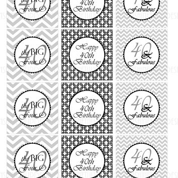 Printable 40th Birthday Black & Gray Birthday Cupcake Toppers, Sticker Labels & Party Favor Tags