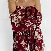 Burgundy Off Shoulder Floral Flared Sleeve Romper Playsuit