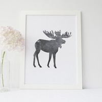 Black + White Watercolor Moose Art Print
