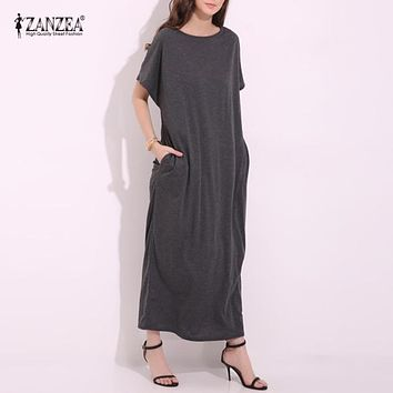 ZANZEA 2018 Womens Summer Round Neck Short Sleeves Loose Casual Party Solid Maxi Long Dress Kaftan Cotton Linen Vestido S-XL