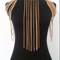 SOLANGE - Gold Plated Full Shoulder Harness Chain