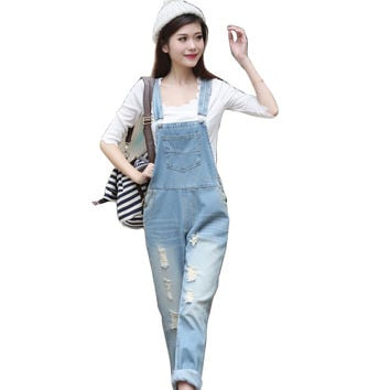 New Fashion Ladies' Elegant classic hole blue denim suspender pants jeans trousers pockets buttons casual slim brand design