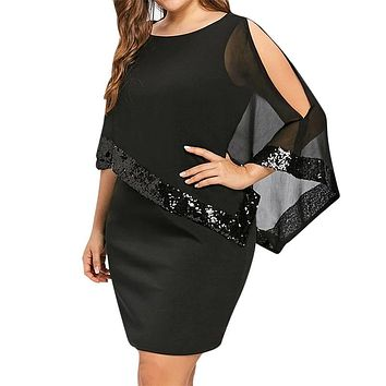 Oversized Women Dress Mesh Sequined Patchwork Irregular Cloak Sleeve Mini Dress Women Solid Casual Party Dresses Plus Size 5XL