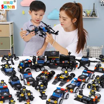 Snaen 2166 PCS Aircraft Building Block Police Army Military Bricks Cruiser Tank DIY Model War Battle Toys Compatible for Legoed
