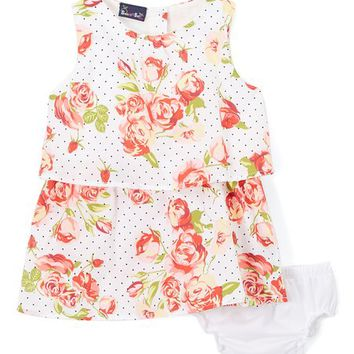 Sweet & Soft White & Coral Floral Pin Dot Tiered Dress & Bloomers - Infant