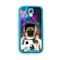 Shawnex Astranout Space Hipster Pug ThinShell Protective Aqua Plastic Samsung Galaxy S4 Case - Galaxy i9500 Case Snap On Case