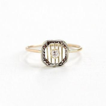 Antique Art Deco 10k Yellow and White Gold Diamond Ring - Fine Vintage Stick Pin Conve