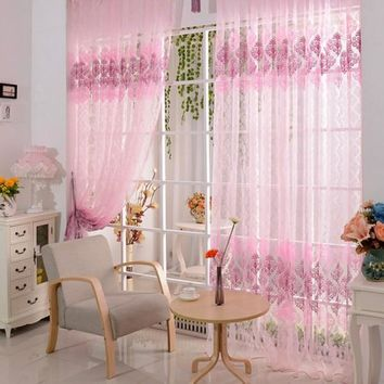 One Piece Pink Floral Pattern Window Room Drape Divider Scarf Voile Modern Curtain New