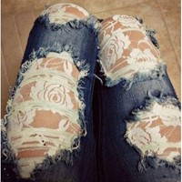 Rose Print See-Through Lace Spliced Ripped Jeans For Women - Deep Blue L