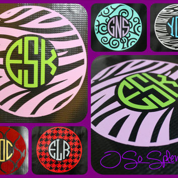 "35+ Colors To Choose from - 12"" Custom Circle Monogram Car Decal - Zebra Outer Circle - Personalized Sticker"