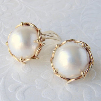 Classic Clip Back Earrings Vintage 14K Yellow Gold Cultured 17mm Cultured Mabe Pearl Hallmark Anchor A.C. Initials Possibly Alice Caviness