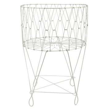 Large Vintage White Wire Laundry Basket Hamper | Overstock.com Shopping - The Best Deals on Hampers