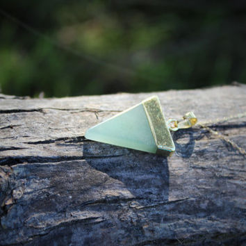 Aventurine Necklace Triangle Necklace on Gold Filled Chain - Geometric Necklace Green Stone Necklace Bohemian Jewelry Layering Necklace