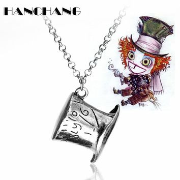 Hot Movies Alice In Wonderland Cap Pendant Necklace Mad Hatter Hat Necklace Link Chain Vintage Collars Men Women Jewelry Collier