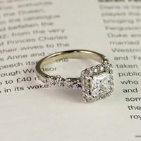 1.9ct Sterling silver engagement ring Cubic zirconia Halo Ring Princess Cut Ring Promoise ring Silver CZ ring