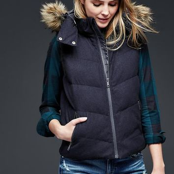 Gap Women Primaloft Faux Fur Trim Wool Puffer Vest
