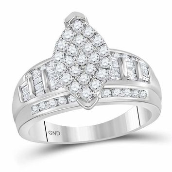 10kt White Gold Women's Round Diamond Marquise-shape Cluster Bridal Wedding Engagement Ring 1.00 Cttw - FREE Shipping (US/CAN)