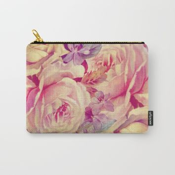 soft vintage roses Carry-All Pouch by clemm