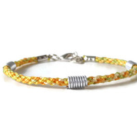sunny Kumihimo bracelet with metal beads, lenght adjustable adult friendship bracelet, unisex wrap bracelet with clasp
