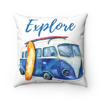 VW Bus Surfboard Beach Theme Throw Pillow, Beach House Decor, Tropical Theme Pillow