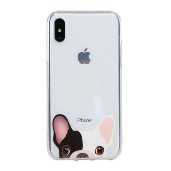 ESBON8C Arunners Animal Pet Dog iPhone X Case Cover Crystal Paint French Bulldog Design Clear Cute Kawayi Unique Funny Phone Cases Skin for iPhone 5.8 inch - Amber